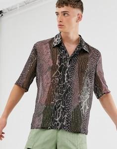 Рубашка о звериным принтом Reclaimed Vintage-Мульти