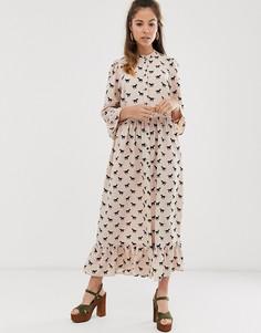 Ярусное платье макси на пуговицах с принтом ASOS DESIGN-Мульти