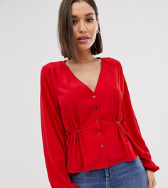 Красная блузка с баской и завязками по бокам Missguided-Красный