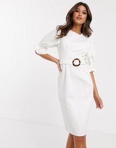 Белое джинсовое платье миди с пышными рукавами ASOS DESIGN-Белый