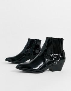 Черные ботинки с отделкой в стиле вестерн River Island-Черный