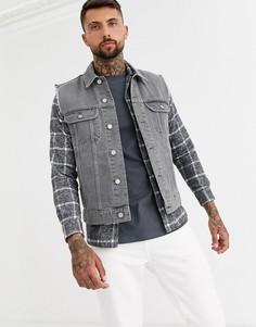 Серая джинсовая куртка без рукавов ASOS DESIGN-Серый