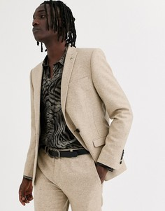 Светло-бежевый супероблегающий двубортный пиджак Twisted Tailor