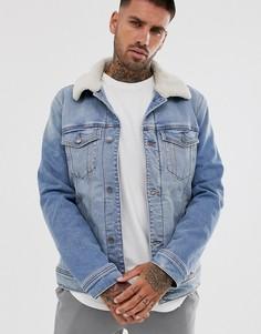 Светлая джинсовая куртка с подкладкой из искусственного меха Hollister-Синий