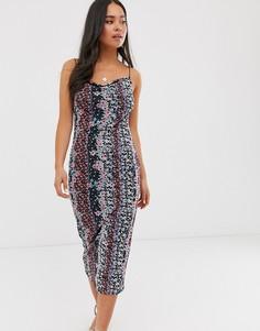 Платье миди с цветочным принтом и сетчатой отделкой Miss Selfridge-Черный