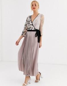 Платье макси с запахом и плиссированной юбкой Little Mistress-Розовый