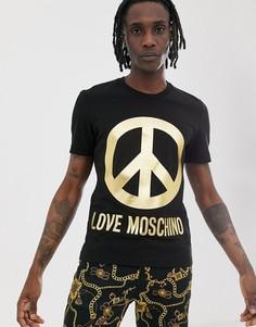 Футболка с золотистым логотипом Love Moschino-Черный