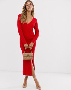 Трикотажное платье миди в рубчик с запахом ASOS DESIGN-Красный