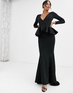 Черное платье макси с глубоким вырезом и длинными рукавами True Violet Black Label-Черный