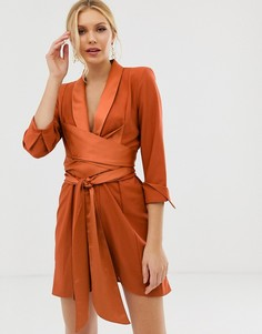Платье-смокинг мини с завязывающимся поясом ASOS DESIGN-Коричневый