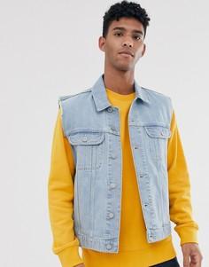 Синяя выбеленная джинсовая куртка без рукавов ASOS DESIGN-Синий