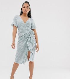 Эксклюзивное чайное платье миди со сборками, разрезом и цветочным принтом Missguided Petite-Синий