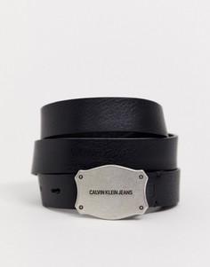 Кожаный ремень в стиле вестерн с логотипом Calvin Klein Jeans-Черный