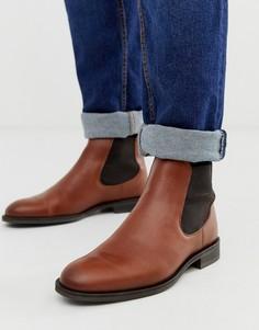 Светло-коричневые кожаные ботинки челси Selected Homme-Коричневый