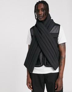 Черный дутый шарф со вставками ASOS DESIGN