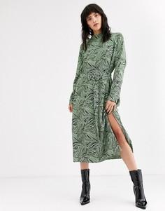 Коричневое платье миди со светло-бирюзовым абстрактным принтом Weekday Davida-Мульти