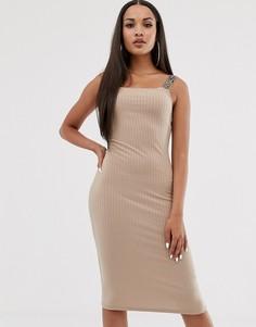 Бежевое облегающее платье миди River Island-Бежевый