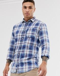 Синяя рубашка в клетку с длинными рукавами Jack & Jones Originals-Красный