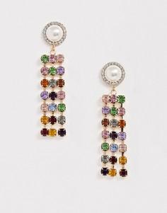 Золотистые серьги-гвоздики с искусственным жемчугом и разноцветными стразами ASOS DESIGN-Золотой