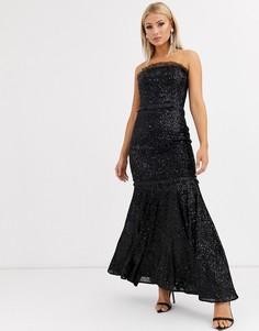 Черное платье-бандо с пайетками Jarlo-Черный