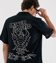 Рубашка с отложным воротником и графическим принтом COLLUSION-Черный