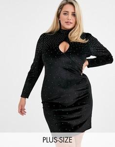 Бархатное платье мини с высоким воротником и отделкой стразами Fashion Union Plus-Черный