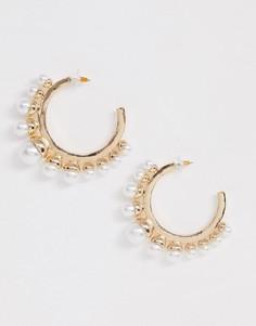 Крупные золотистые серьги-кольца с жемчужинами ASOS DESIGN-Золотой