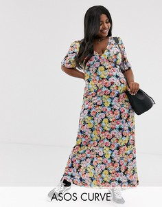 Чайное платье макси с цветочным принтом ASOS DESIGN Curve-Мульти