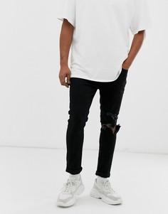 Черные рваные джинсы скинни Mennace-Черный