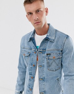 Голубая выбеленная джинсовая куртка с рваной отделкой Wrangler-Синий