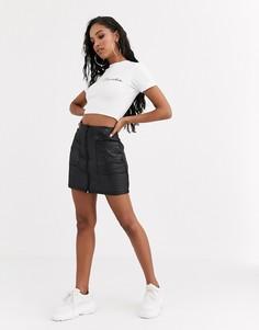 Стеганая мини-юбка из искусственной кожи с молнией ASOS DESIGN-Черный