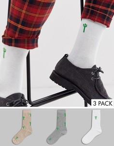 Набор из 3 пар носков до щиколотки с принтом кактусов ASOS DESIGN - Скидка-Мульти