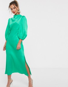 Атласное чайное платье миди со свободным воротом и рукавами-фонариками ASOS DESIGN-Зеленый