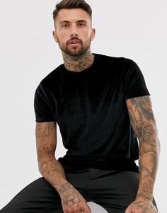 Черная велюровая футболка ASOS DESIGN-Черный