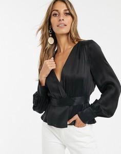 Черная атласная блузка с запахом & Other Stories-Черный