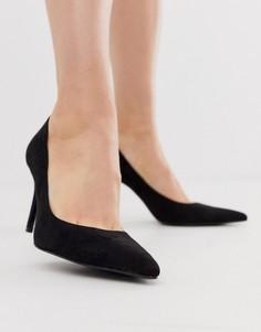 Черные туфли-лодочки на тонком каблуке Stradivarius-Черный