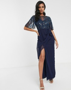 Темно-синее платье макси с прозрачным верхним слоем и сборками по бокам Virgos Lounge-Темно-синий