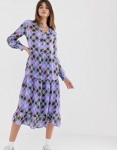 Ярусное платье миди в клетку Levete Room-Фиолетовый