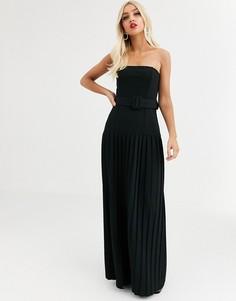 Платье-бандо макси с плиссировкой и ремнем ASOS DESIGN-Черный