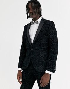 Серый супероблегающий пиджак с флоковым змеиным узором Twisted Tailor