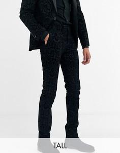 Серые супероблегающие брюки с флоковым рисунком змеиной кожи Twisted Tailor Tall-Серый