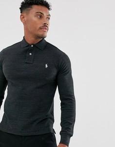 Поло черного меланжевого цвета облегающего кроя с длинными рукавами и логотипом Polo Ralph Lauren-Черный