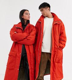 Удлиненная дутая куртка Reclaimed Vintage Unisex-Оранжевый