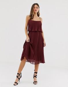 Платье миди с плиссировкой, кроп-топом и овальным вырезом ASOS DESIGN-Красный