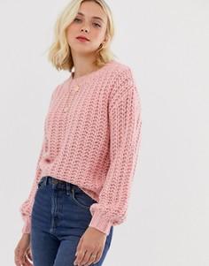 Укороченный трикотажный джемпер с длинными рукавами Pieces Helena-Розовый
