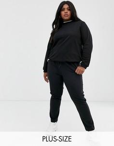 Свободные трикотажные брюки в тонкую полоску Only Curve-Черный