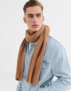 Шерстяной шарф верблюжьего цвета Selected Homme-Коричневый