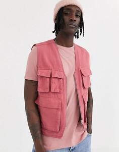 Розовый жилет в стиле милитари ASOS DESIGN