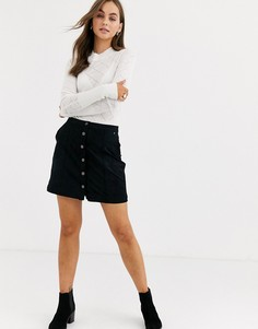 Замшевая мини-юбка Abercrombie & Fitch-Черный