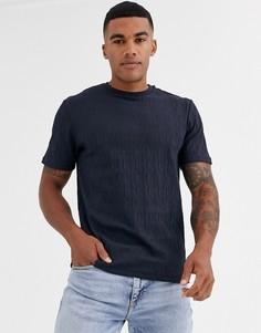 Темно-синяя жаккардовая футболка River Island-Темно-синий